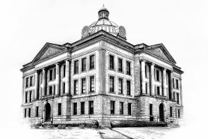 Logan County Courthouse B&W  Lincoln IL